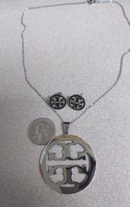 Tory burch silver tone necklace and earrings